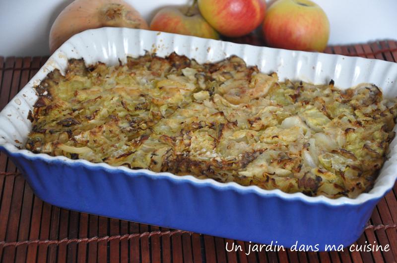 gratin pommes chou châtaignes un jardin dans ma cuisine