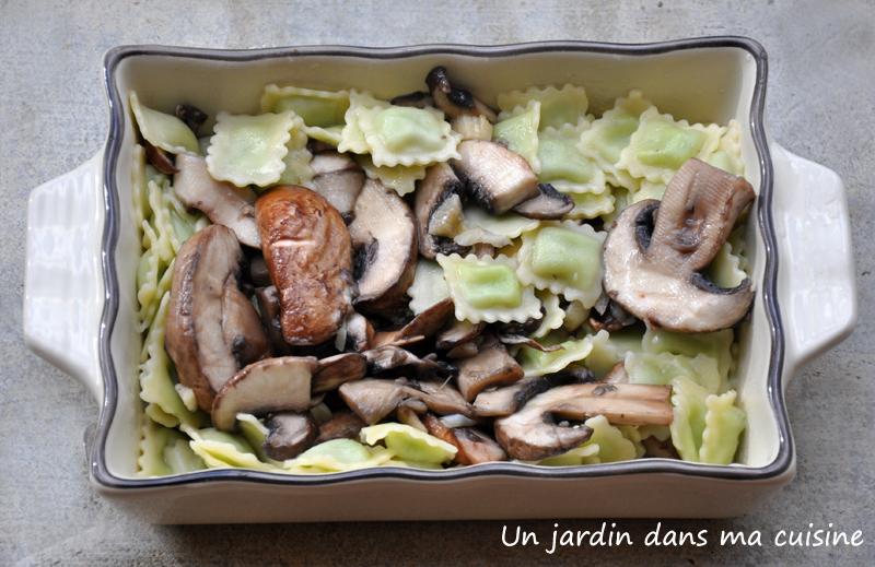 gratin de ravioles aux champignons un jardin dans ma cuisine