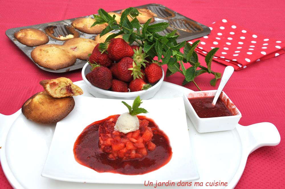 brunoise fraises ananas coulis fraises et madeleines