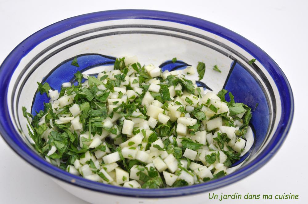 salade orge perlé herbes et brunoise de chou rave