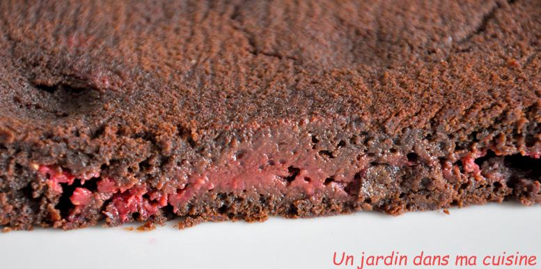 gâteau chocolat cœur framboises