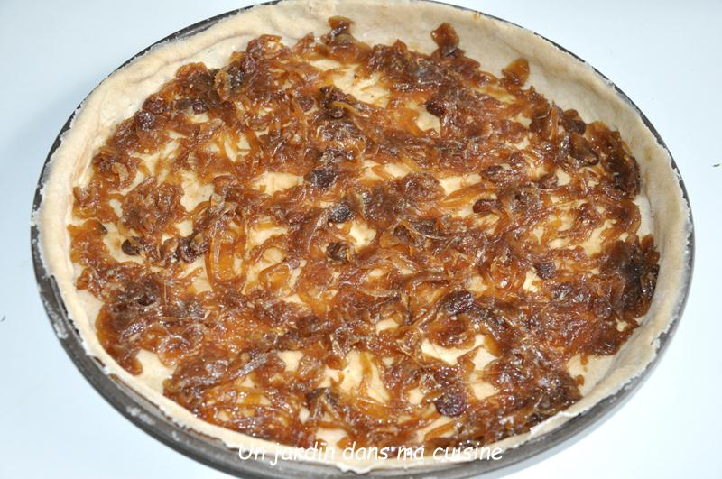 tarte automnale oignons confits et noisettes