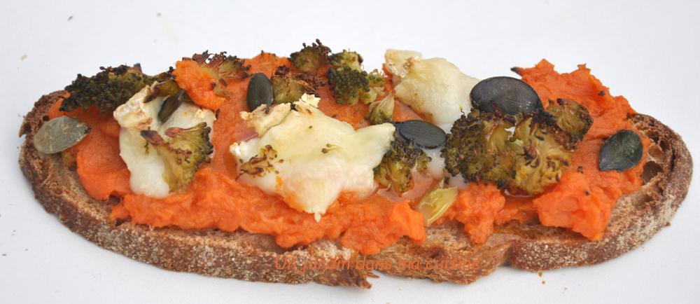 tartine patate douce en habit de brocoli