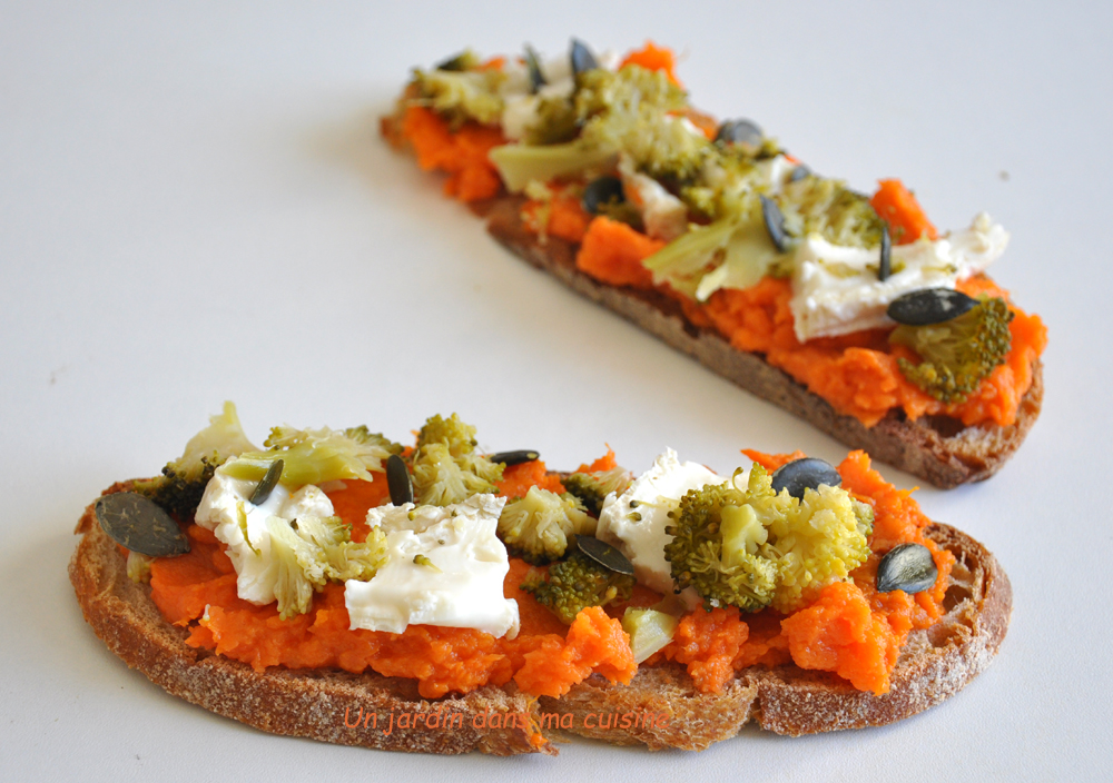 Tartine patate douce en habit de brocoli