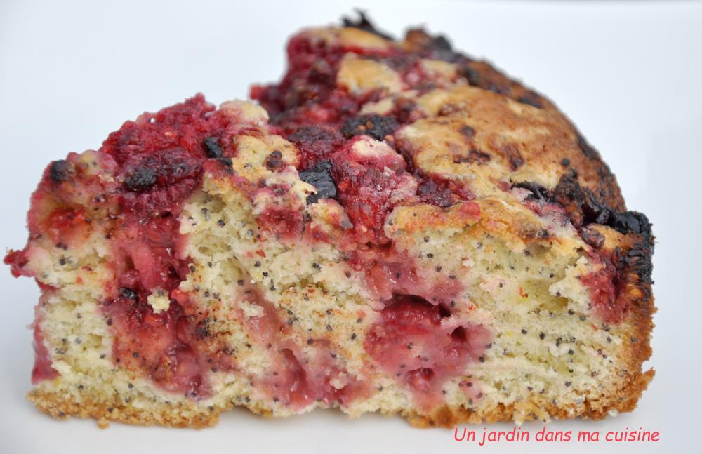gâteau graines de pavot framboises