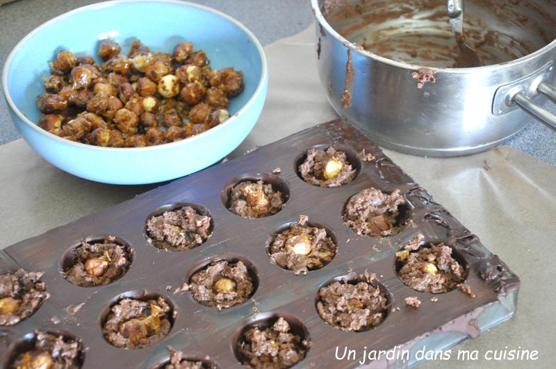 chocolats maison noisettes caramélisées