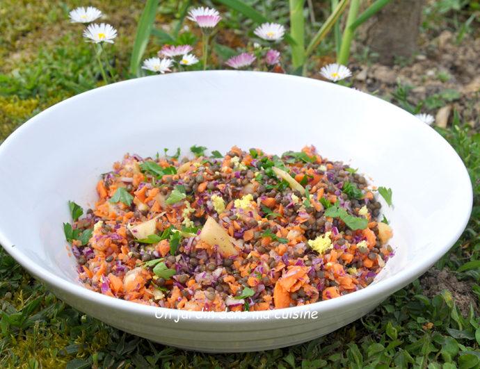 Salade de lentilles carottes chou ananas