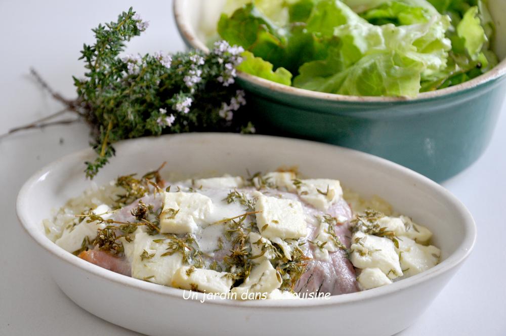 blettes au jambon thym et feta