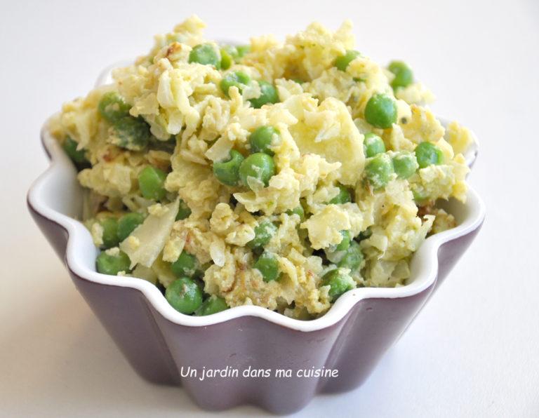 chou blanc et petits pois en omelette - Un jardin dans ma..