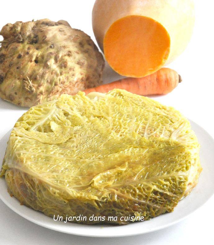 chou farci légumes et confit de canard