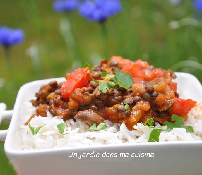 Sauce végétale légumes lentilles