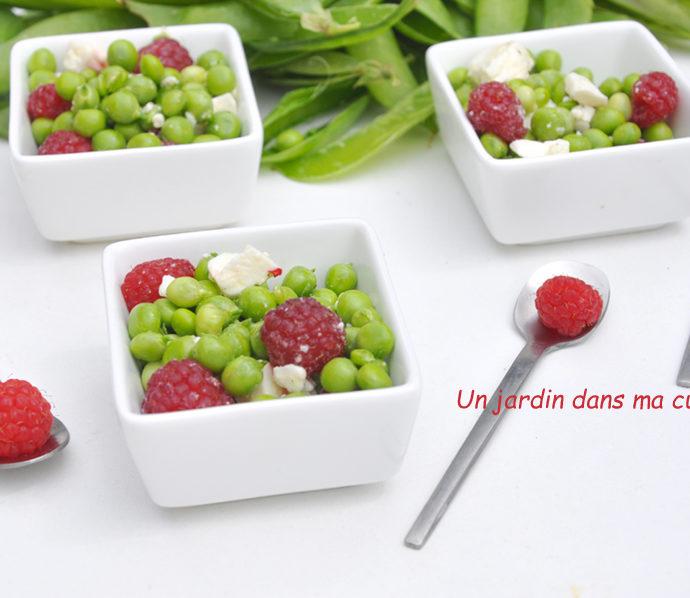 salade de petits pois feta framboises