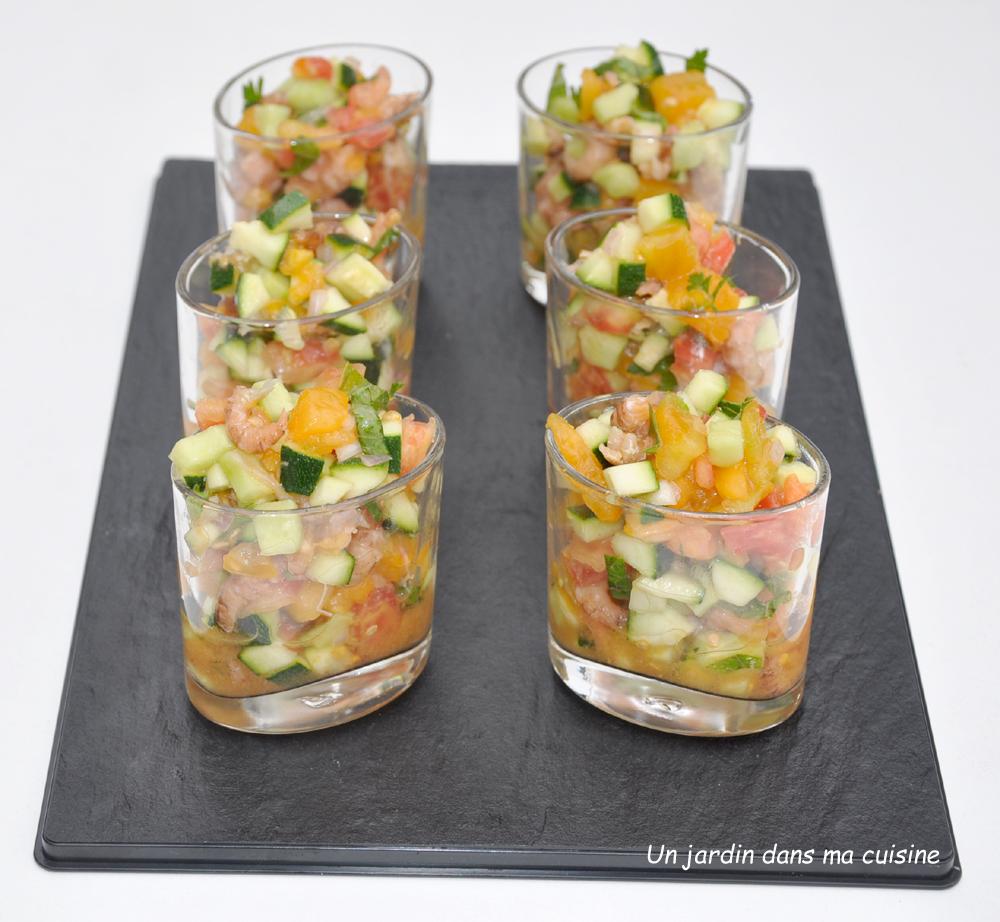 verrines tartare de légumes crevettes