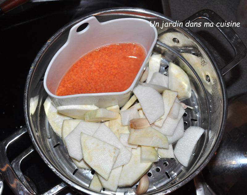 soupe céleri lentilles corail