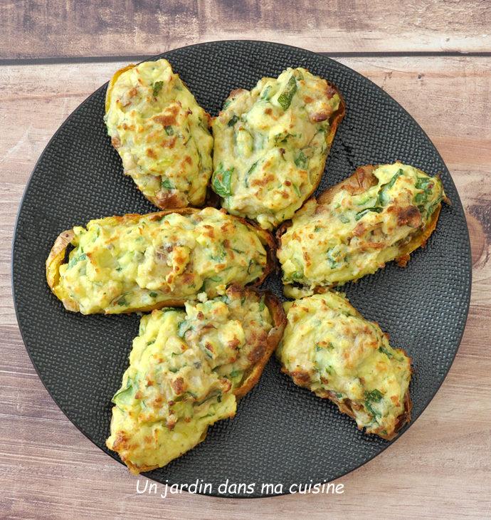 Pommes de terre farcies courgettes gorgonzola