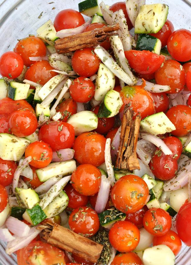 Riz  au four ail tomates confites