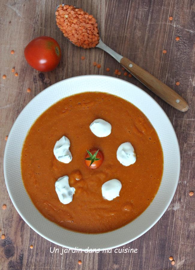 Soupe tomates lentilles corail