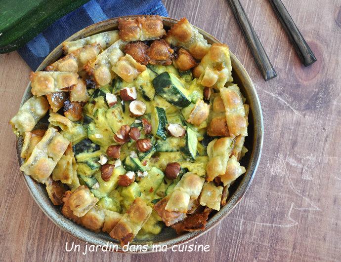 Courgettes sauce crémeuse et ses chips de ravioles