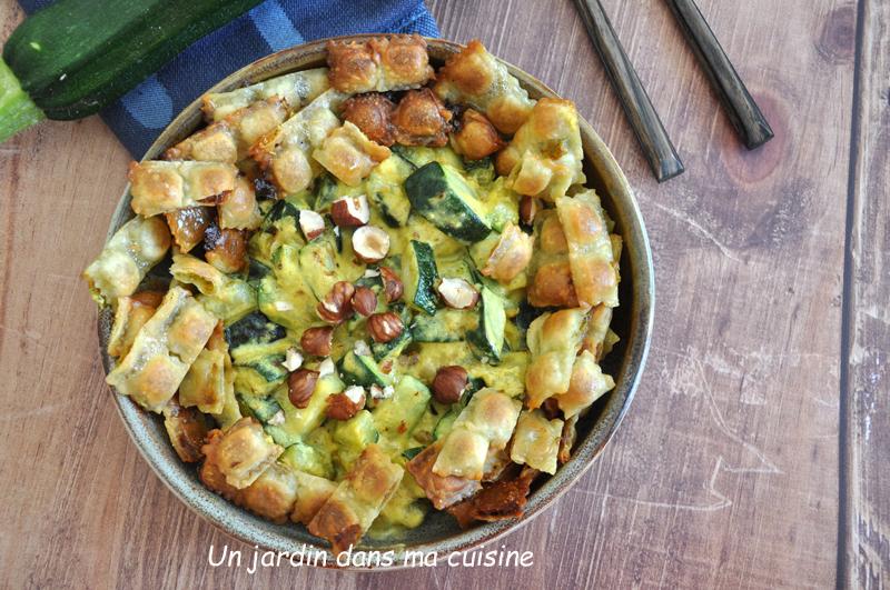 courgettes sauce crémeuse et ses chips de légumes