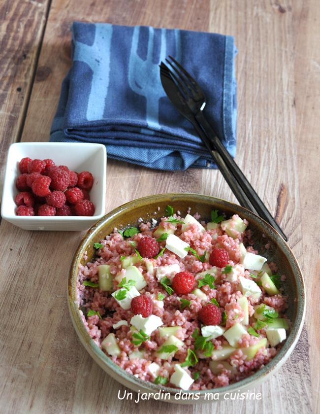 Salade de boulghour vinaigrette framboises
